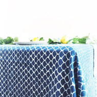 Indigo Fish Scales Tablecloth  | Peacocks and Paisleys