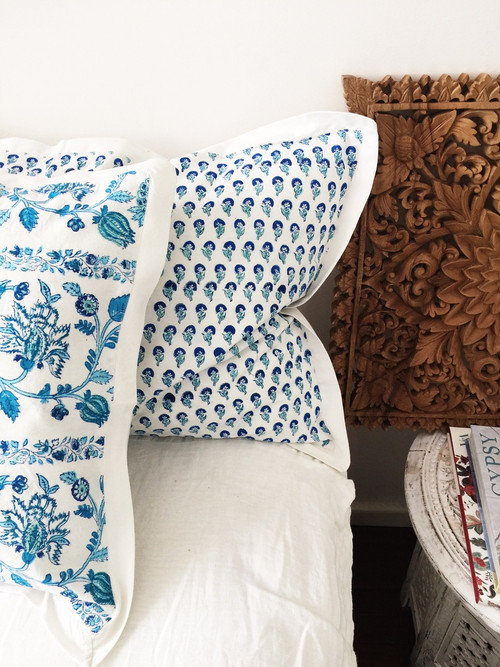 Blue Boho Hamptons Pillowcase | Peacocks and Paisleys