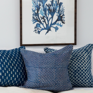 Indigo Anchor Linen Cushion Cover | Peacocks and Paisleys