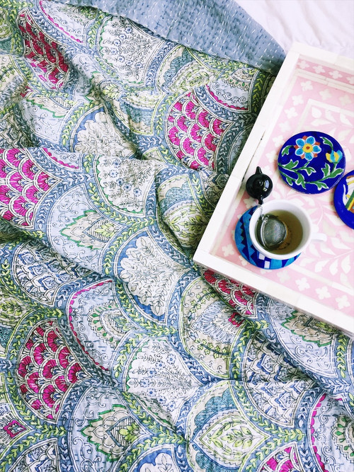Cinque Terre Kantha Quilt | Peacocks and Paisleys