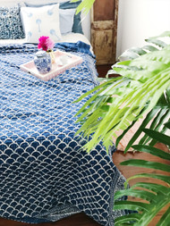Indigo Fish Scales Kantha Quilt-sold out