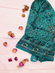 Indian Elephant Teal Square Scarf | Peacocks and Paisleys