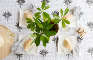 Island Banana Palms Tablecloth| Peacocks and Paisleys