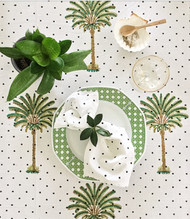 Polka Dot Palm Tree  Round Tablecloth| Peacocks and Paisleys