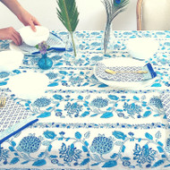 Blue Boho Hamptons Round Tablecloth| Peacocks and Paisleys