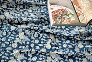 Indigo Floral Hamptons Round Tablecloth| Peacocks and Paisleys