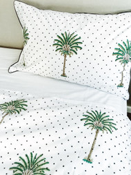 Polka Dot Palm Tree Quilt Cover -Single| Peacocks and Paisleys