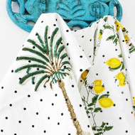 Polka Dot Palm Tree Tea towel-set of 2