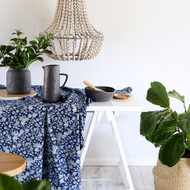 Indigo Floral Square Tablecloth (180 X180 cm)