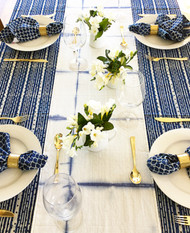 Indigo Dots and Stripes Round Tablecloth