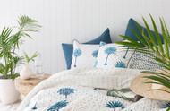 Blue Boho Palm Tree Polka Dot Cushion Cover