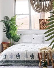 Ferns and Flowers  Kantha Quilt