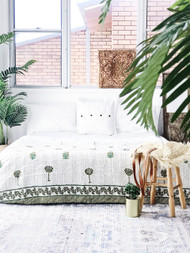 Olive Moss Palms  Kantha Quilt