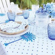 Boho Blue Palm Hamptons Tablecloth| Peacocks and Paisleys