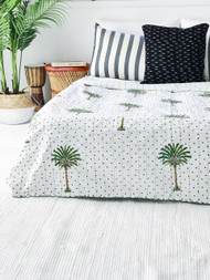 Polka Dot Palm Tree  Kantha Quilt