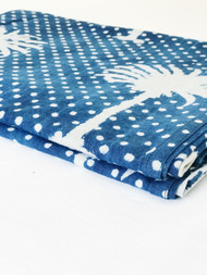 Indigo Polka Dot  Palms Tablecloth (180x275cm)