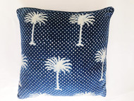 Indigo Polka Dot Palms Cushion Cover
