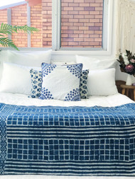 Cobalt Zellige Moroccan  Euro Cushion Cover