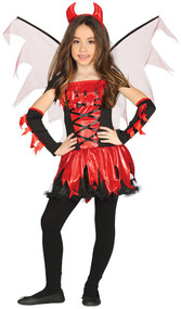 Girls Fire Devil Fancy Dress Costume