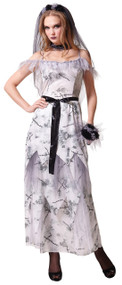 Ladies Long Ghost Bride Fancy Dress Costume
