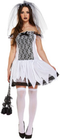 Ladies Glamorous Ghost Bride Fancy Dress Costume