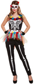 Ladies Bright Skeleton Fancy Dress Costume