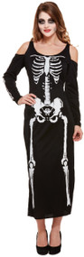 Ladies Long Skeleton Fancy Dress Costume 1