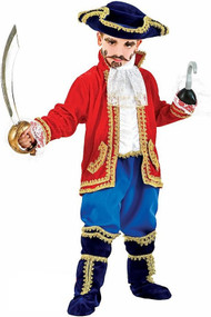 Boys Deluxe Pirate Captain Fancy Dress Costume