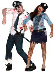 Couples Zombie Police Officers Fancy Dress Costumes