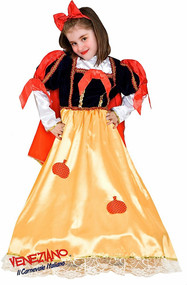 Girls Long Snow White Fancy Dress Costume
