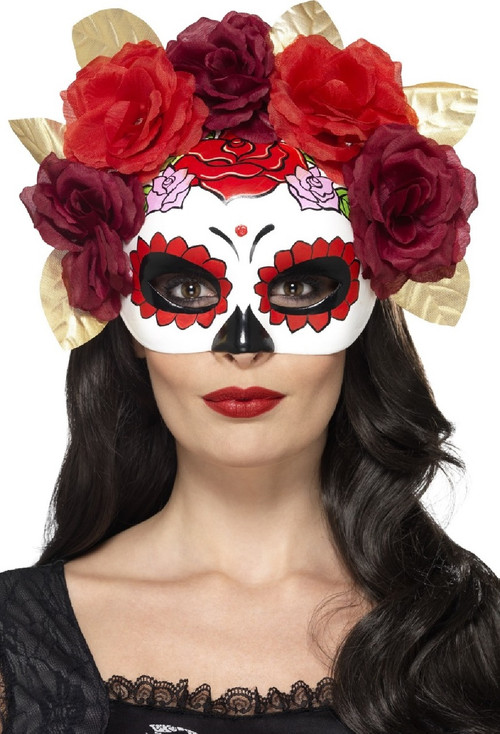 sc 1 st  Fancy Me Limited & Ladies Day Of The Dead Red Floral Eye Mask - Fancy Me Limited