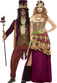 Couples Voodoo Priests Fancy Dress Costumes