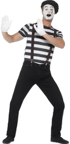 Mens French Mime Artist Fancy Dress Costume
