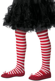 Girls White & Red Candy Cane Fancy Dress Tights