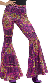 Ladies Psychedelic Flares Fancy Dress Trousers