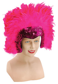 Ladies Pink Sequinned Feather Headdress