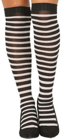 Ladies Black/White Stripe Stockings