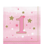 Girls Pink Stars 1st Birthday Party Napkins