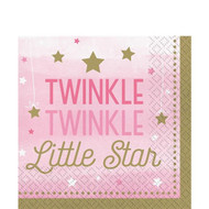 Girls Pink Stars Birthday Party Napkins