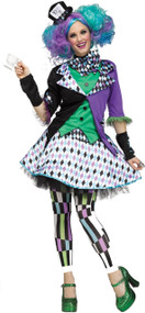 Ladies Colourful Hatter Fancy Dress Costume