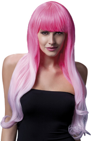 Ladies Ombre Pink Long Emily Wig