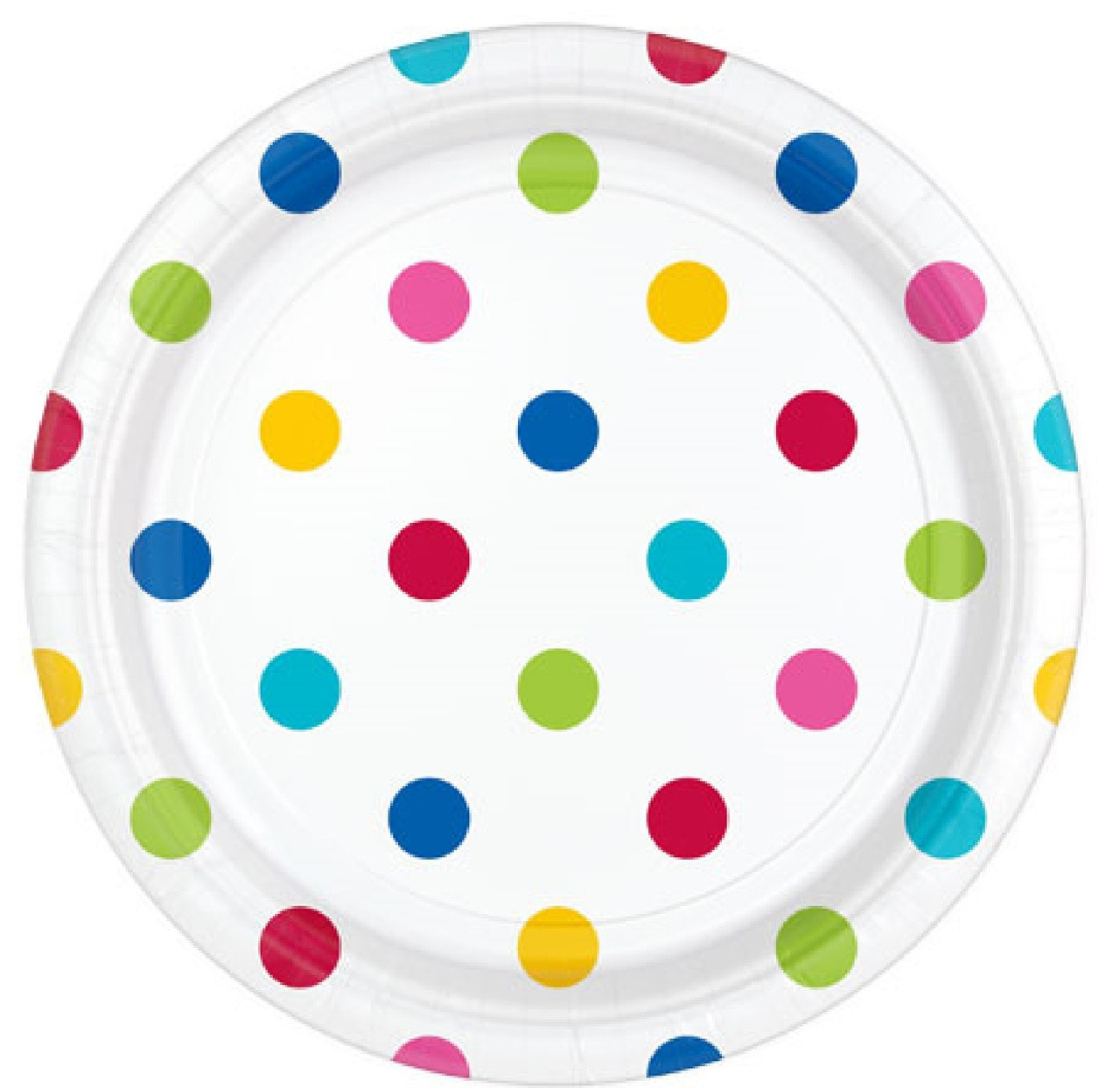 Image 1  sc 1 st  Fancy Me Limited & Rainbow Polka Dot Party Dessert Plates - Fancy Me Limited