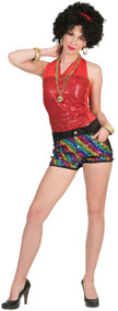 Ladies Rainbow Sequin Fancy Dress Shorts