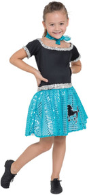Girls Blue Sequin 50s Fancy Dress Costume