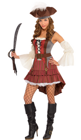 Ladies Castaway Pirate Fancy Dress Costume