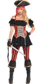 Ladies Pirate Lassie Fancy Dress Costume