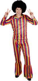 Mens Bright Rainbow Fancy Dress Costume