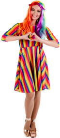 Ladies Bright Rainbow Fancy Dress Costume