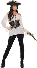 Ladies Deluxe White Pirate Wench Fancy Dress Shirt