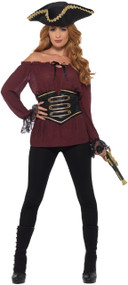 Ladies Deluxe Burgundy Pirate Wench Fancy Dress Shirt